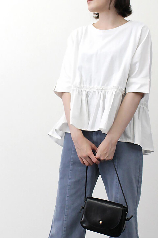 FrilledHemPanelCutTop異素材切替・フリルヘム・トップス大人カジュアルに最適な海外ファッションのothers(その他インポートアイテム)のトップスやカットソー。トップがTシャツ生地、ボトムがシャツ生地の切替がかわいいトップス。Tシャツのようにカジュアルに木回せる便利アイテムです。/main-29