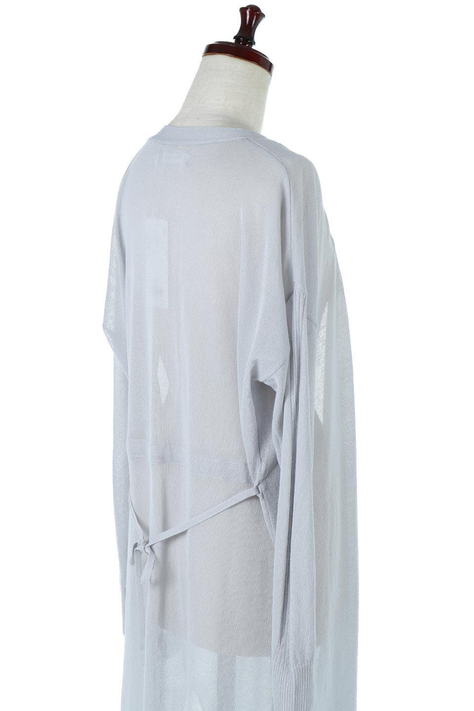 RibLineSleeveShearLongCardiganラインスリーブ・シアーカーディガン大人カジュアルに最適な海外ファッションのothers(その他インポートアイテム)のアウターやカーディガン。サラリとした触感で暑い時期にも重宝する長袖カーディガン。トレンド感のあるロング丈のデザインとバックウエストに通った紐ベルトで、後ろ姿にもメリハリがあるアイテム。/main-11