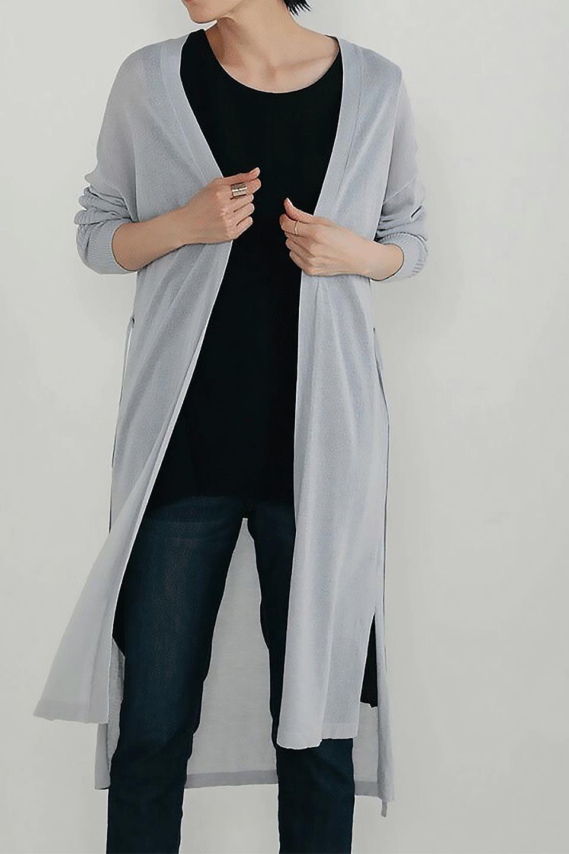 RibLineSleeveShearLongCardiganラインスリーブ・シアーカーディガン大人カジュアルに最適な海外ファッションのothers(その他インポートアイテム)のアウターやカーディガン。サラリとした触感で暑い時期にも重宝する長袖カーディガン。トレンド感のあるロング丈のデザインとバックウエストに通った紐ベルトで、後ろ姿にもメリハリがあるアイテム。/main-19