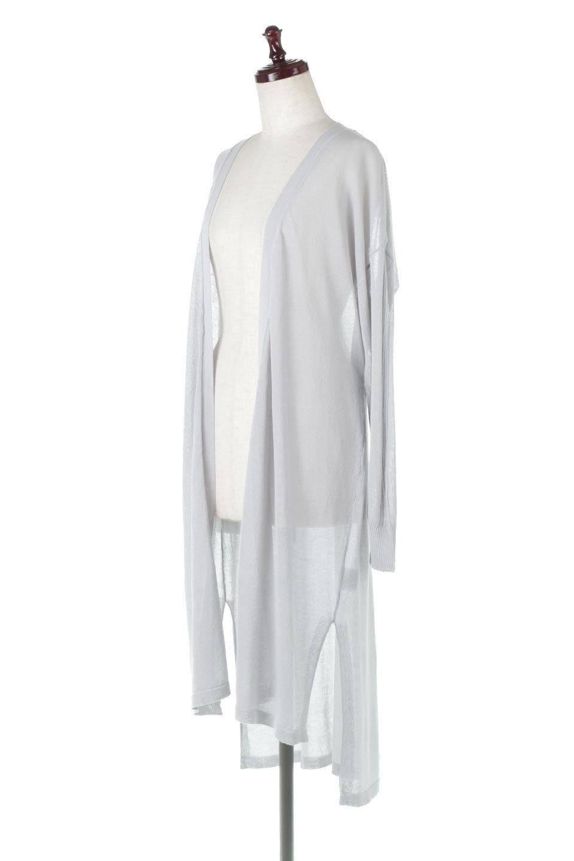 RibLineSleeveShearLongCardiganラインスリーブ・シアーカーディガン大人カジュアルに最適な海外ファッションのothers(その他インポートアイテム)のアウターやカーディガン。サラリとした触感で暑い時期にも重宝する長袖カーディガン。トレンド感のあるロング丈のデザインとバックウエストに通った紐ベルトで、後ろ姿にもメリハリがあるアイテム。/main-6