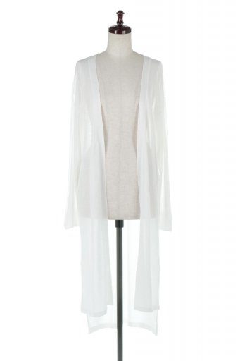 海外ファッションや大人カジュアルに最適なインポートセレクトアイテムのRib Line Sleeve Shear Long Cardigan ラインスリーブ・シアーカーディガン