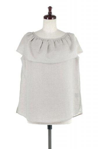 海外ファッションや大人カジュアルに最適なインポートセレクトアイテムのWashable Linen Frilled Blouse ウォッシャブルリネン・フリルブラウス
