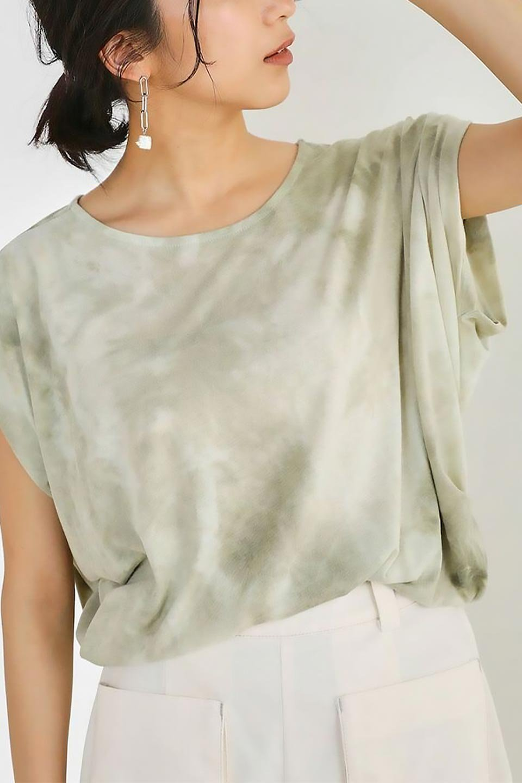 TieDyeDrapedTopタイダイ染・ルーズTシャツ大人カジュアルに最適な海外ファッションのothers(その他インポートアイテム)のトップスやカットソー。ポリエステル×レーヨンのてろんとした素材感が嬉しいタイダイ染めのTシャツ。ぼんやりとした優しいカラーリングで、派手すぎずに使いやすいトップス。/main-32