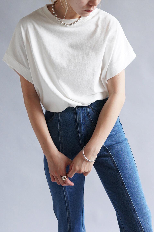 FrenchSleevePullOverTeeフレンチスリーブ・Tシャツ大人カジュアルに最適な海外ファッションのothers(その他インポートアイテム)のトップスやTシャツ。シンプルでつい着たくなる素材とシルエットが自慢のTシャツ。身体のラインをひろいづらい、しっかりとした中肉の暑さの安心カットソー生地のアイテムです。/main-29