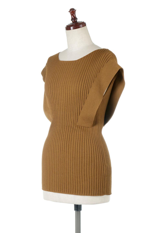 SquareFrenchSleeveTopスクエアフレンチスリーブ・リブトップス大人カジュアルに最適な海外ファッションのothers(その他インポートアイテム)のトップスやカットソー。袖のデザインが印象的なリブトップス。首元や裾は縫い目の無いシームレスな作りで、すっきり見えるシルエット。/main-1