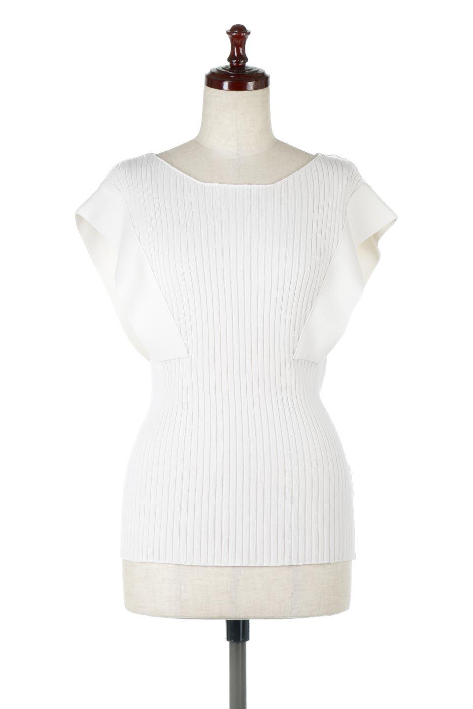 SquareFrenchSleeveTopスクエアフレンチスリーブ・リブトップス大人カジュアルに最適な海外ファッションのothers(その他インポートアイテム)のトップスやカットソー。袖のデザインが印象的なリブトップス。首元や裾は縫い目の無いシームレスな作りで、すっきり見えるシルエット。/main-10