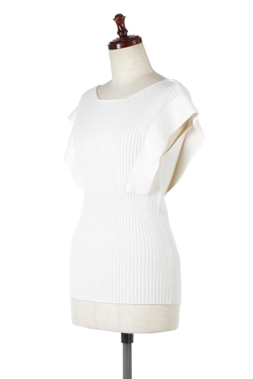 SquareFrenchSleeveTopスクエアフレンチスリーブ・リブトップス大人カジュアルに最適な海外ファッションのothers(その他インポートアイテム)のトップスやカットソー。袖のデザインが印象的なリブトップス。首元や裾は縫い目の無いシームレスな作りで、すっきり見えるシルエット。/main-11