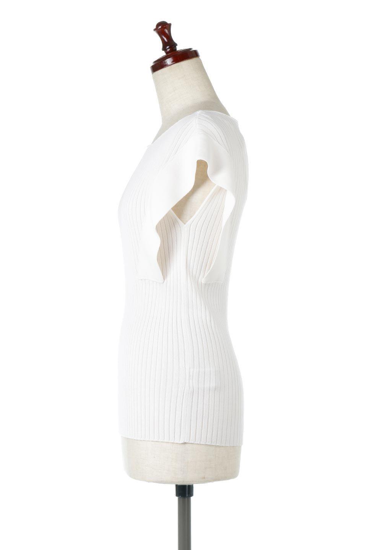 SquareFrenchSleeveTopスクエアフレンチスリーブ・リブトップス大人カジュアルに最適な海外ファッションのothers(その他インポートアイテム)のトップスやカットソー。袖のデザインが印象的なリブトップス。首元や裾は縫い目の無いシームレスな作りで、すっきり見えるシルエット。/main-12
