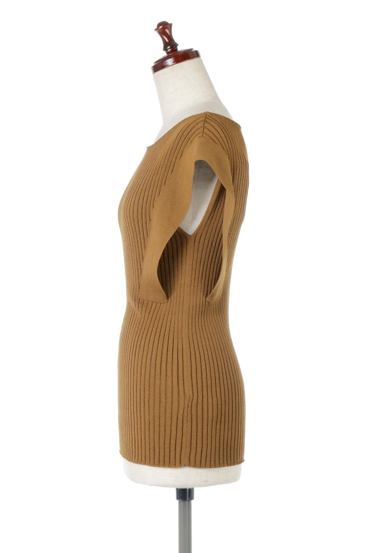 SquareFrenchSleeveTopスクエアフレンチスリーブ・リブトップス大人カジュアルに最適な海外ファッションのothers(その他インポートアイテム)のトップスやカットソー。袖のデザインが印象的なリブトップス。首元や裾は縫い目の無いシームレスな作りで、すっきり見えるシルエット。/main-2