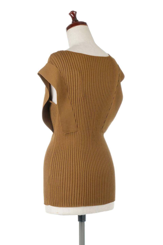 SquareFrenchSleeveTopスクエアフレンチスリーブ・リブトップス大人カジュアルに最適な海外ファッションのothers(その他インポートアイテム)のトップスやカットソー。袖のデザインが印象的なリブトップス。首元や裾は縫い目の無いシームレスな作りで、すっきり見えるシルエット。/main-3