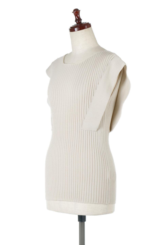 SquareFrenchSleeveTopスクエアフレンチスリーブ・リブトップス大人カジュアルに最適な海外ファッションのothers(その他インポートアイテム)のトップスやカットソー。袖のデザインが印象的なリブトップス。首元や裾は縫い目の無いシームレスな作りで、すっきり見えるシルエット。/main-6
