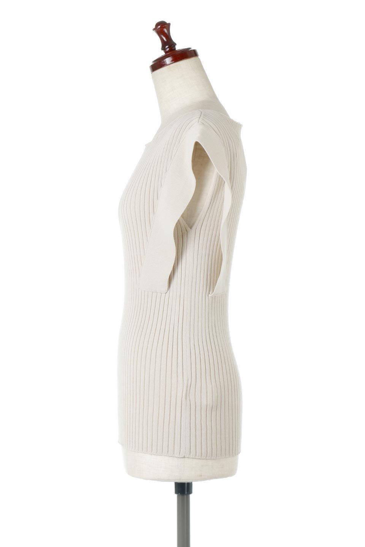 SquareFrenchSleeveTopスクエアフレンチスリーブ・リブトップス大人カジュアルに最適な海外ファッションのothers(その他インポートアイテム)のトップスやカットソー。袖のデザインが印象的なリブトップス。首元や裾は縫い目の無いシームレスな作りで、すっきり見えるシルエット。/main-7
