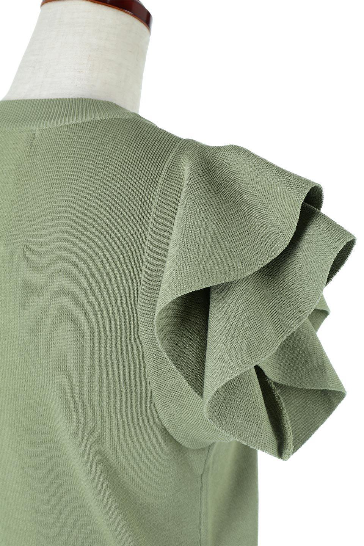 FrillSleeveKnitTopフリルスリーブ・半袖ニットトップス大人カジュアルに最適な海外ファッションのothers(その他インポートアイテム)のトップスやカットソー。袖の立体感のあるフリルスリーブが魅力の半袖ニットのカットソー。伸縮性とハリのあるニット素材なので体によくなじみ、肌触りも良く、着心地抜群のトップス。/main-13