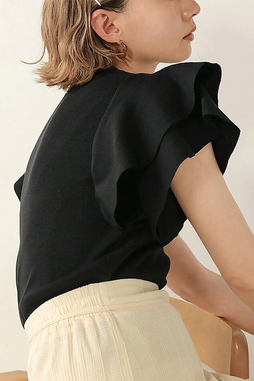 FrillSleeveKnitTopフリルスリーブ・半袖ニットトップス大人カジュアルに最適な海外ファッションのothers(その他インポートアイテム)のトップスやカットソー。袖の立体感のあるフリルスリーブが魅力の半袖ニットのカットソー。伸縮性とハリのあるニット素材なので体によくなじみ、肌触りも良く、着心地抜群のトップス。/main-20
