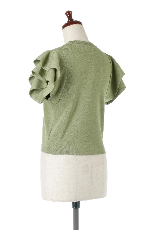 FrillSleeveKnitTopフリルスリーブ・半袖ニットトップス大人カジュアルに最適な海外ファッションのothers(その他インポートアイテム)のトップスやカットソー。袖の立体感のあるフリルスリーブが魅力の半袖ニットのカットソー。伸縮性とハリのあるニット素材なので体によくなじみ、肌触りも良く、着心地抜群のトップス。/main-3