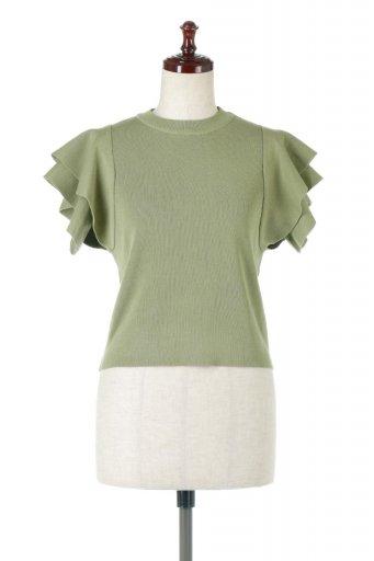Frill Sleeve Knit Top フリルスリーブ・半袖ニットトップス / 大人カジュアルに最適な海外ファッションが得意な福島市のセレクトショップbloom