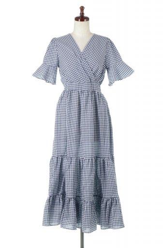 海外ファッションや大人カジュアルに最適なインポートセレクトアイテムのGingham Check Tiered Dress ギンガム・チェック・ティアードワンピース