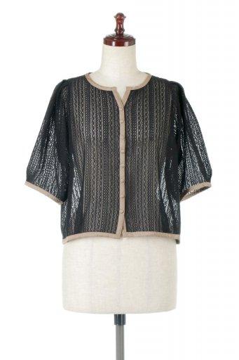 Stripe Lace Puff Sleeve Blouse ストライプレース・パイピングブラウス / 大人カジュアルに最適な海外ファッションが得意な福島市のセレクトショップbloom