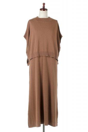 Long Knit Dress with Cape Top ケープトップ&ロングニットワンピース / 大人カジュアルに最適な海外ファッションが得意な福島市のセレクトショップbloom