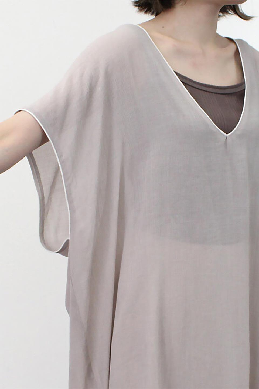 PipingHemChiffonKaftanDressシフォン生地・パイピングカフタンドレス大人カジュアルに最適な海外ファッションのothers(その他インポートアイテム)のワンピースやマキシワンピース。インナー次第でロングシーズン活躍するシアー素材のカフタンワンピース。肩の隠れる袖丈とゆったりとしたシルエットでストレス無く着られる1枚。/main-25