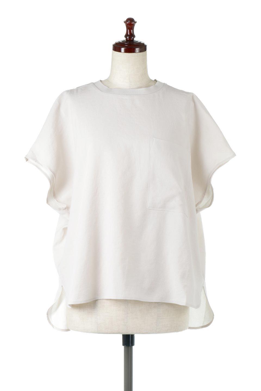 OverSizedBackGatherPullOverバックギャザー・オーバーTシャツ大人カジュアルに最適な海外ファッションのothers(その他インポートアイテム)のトップスやカットソー。ありそうでなかった麻のような質感が気持ち良い布帛生地のオーバーTシャツ。一見ビッグシルエットのTシャツのようですが、シャリっとした清涼感のあるタッチでシワになりにくい素材で、汗のべたつきも気になりにくいトップス。