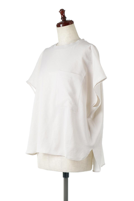 OverSizedBackGatherPullOverバックギャザー・オーバーTシャツ大人カジュアルに最適な海外ファッションのothers(その他インポートアイテム)のトップスやカットソー。ありそうでなかった麻のような質感が気持ち良い布帛生地のオーバーTシャツ。一見ビッグシルエットのTシャツのようですが、シャリっとした清涼感のあるタッチでシワになりにくい素材で、汗のべたつきも気になりにくいトップス。/main-1