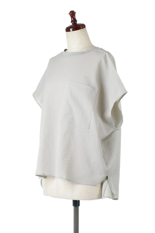 OverSizedBackGatherPullOverバックギャザー・オーバーTシャツ大人カジュアルに最適な海外ファッションのothers(その他インポートアイテム)のトップスやカットソー。ありそうでなかった麻のような質感が気持ち良い布帛生地のオーバーTシャツ。一見ビッグシルエットのTシャツのようですが、シャリっとした清涼感のあるタッチでシワになりにくい素材で、汗のべたつきも気になりにくいトップス。/main-12