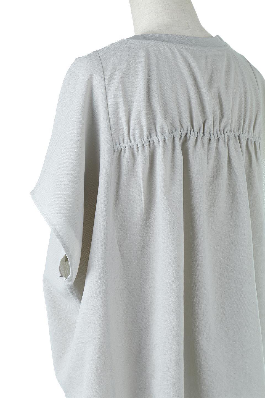 OverSizedBackGatherPullOverバックギャザー・オーバーTシャツ大人カジュアルに最適な海外ファッションのothers(その他インポートアイテム)のトップスやカットソー。ありそうでなかった麻のような質感が気持ち良い布帛生地のオーバーTシャツ。一見ビッグシルエットのTシャツのようですが、シャリっとした清涼感のあるタッチでシワになりにくい素材で、汗のべたつきも気になりにくいトップス。/main-21