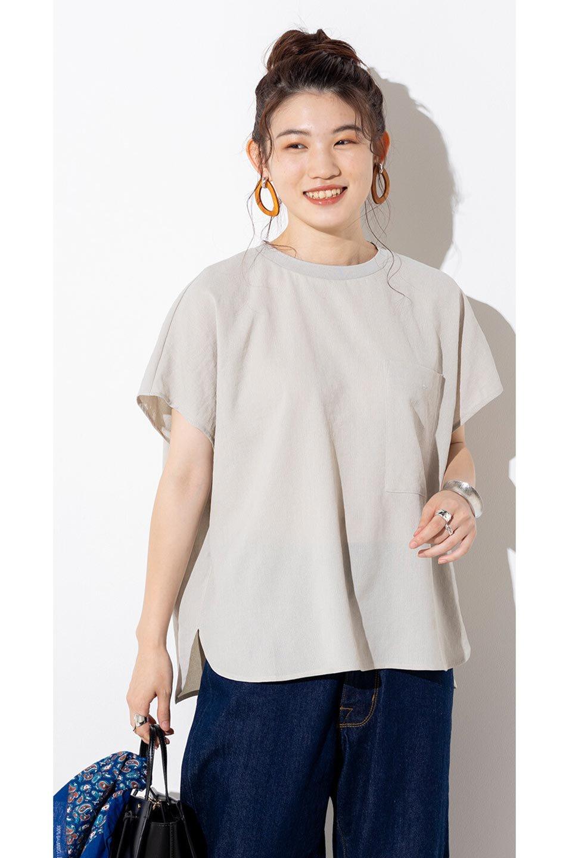 OverSizedBackGatherPullOverバックギャザー・オーバーTシャツ大人カジュアルに最適な海外ファッションのothers(その他インポートアイテム)のトップスやカットソー。ありそうでなかった麻のような質感が気持ち良い布帛生地のオーバーTシャツ。一見ビッグシルエットのTシャツのようですが、シャリっとした清涼感のあるタッチでシワになりにくい素材で、汗のべたつきも気になりにくいトップス。/main-38