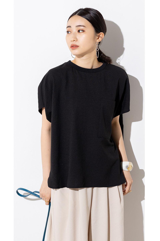 OverSizedBackGatherPullOverバックギャザー・オーバーTシャツ大人カジュアルに最適な海外ファッションのothers(その他インポートアイテム)のトップスやカットソー。ありそうでなかった麻のような質感が気持ち良い布帛生地のオーバーTシャツ。一見ビッグシルエットのTシャツのようですが、シャリっとした清涼感のあるタッチでシワになりにくい素材で、汗のべたつきも気になりにくいトップス。/main-41