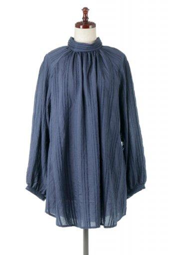 Pin Tuck Stripe Tunic Blouse ストライプ・チュニックブラウス / 大人カジュアルに最適な海外ファッションが得意な福島市のセレクトショップbloom