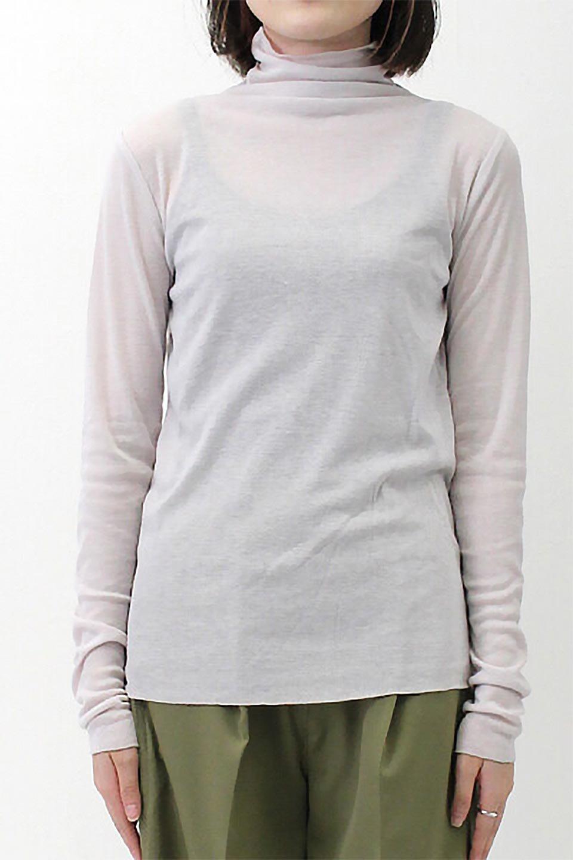 TurtleNeckSheerTopタートルネック・シアートップス大人カジュアルに最適な海外ファッションのothers(その他インポートアイテム)のトップスやカットソー。涼し気な透け感のシアー素材を使用した長袖カットソー。程よいタイトなシルエットでインナーに合わせても邪魔になりません。/main-36