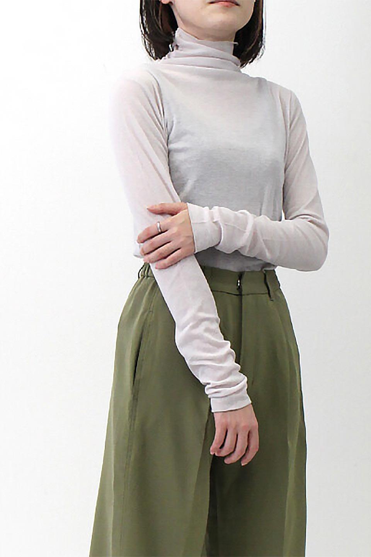 TurtleNeckSheerTopタートルネック・シアートップス大人カジュアルに最適な海外ファッションのothers(その他インポートアイテム)のトップスやカットソー。涼し気な透け感のシアー素材を使用した長袖カットソー。程よいタイトなシルエットでインナーに合わせても邪魔になりません。/main-37