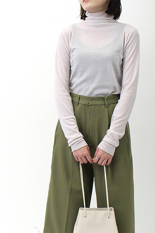 TurtleNeckSheerTopタートルネック・シアートップス大人カジュアルに最適な海外ファッションのothers(その他インポートアイテム)のトップスやカットソー。涼し気な透け感のシアー素材を使用した長袖カットソー。程よいタイトなシルエットでインナーに合わせても邪魔になりません。/main-38