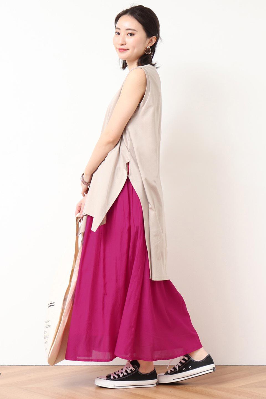 SemiSheerFlareSkirtスシボイル・フレアロングスカート大人カジュアルに最適な海外ファッションのothers(その他インポートアイテム)のボトムやスカート。ビスコース(レーヨン)とコットンのスシボイル生地を使用した発色の良いフレアスカート。スシボイルは上品な透け感と表面に若干の光沢があり、非常に人気のある素材です。/main-27