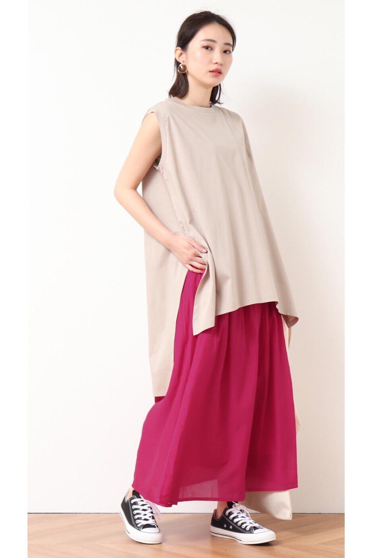SemiSheerFlareSkirtスシボイル・フレアロングスカート大人カジュアルに最適な海外ファッションのothers(その他インポートアイテム)のボトムやスカート。ビスコース(レーヨン)とコットンのスシボイル生地を使用した発色の良いフレアスカート。スシボイルは上品な透け感と表面に若干の光沢があり、非常に人気のある素材です。/main-28