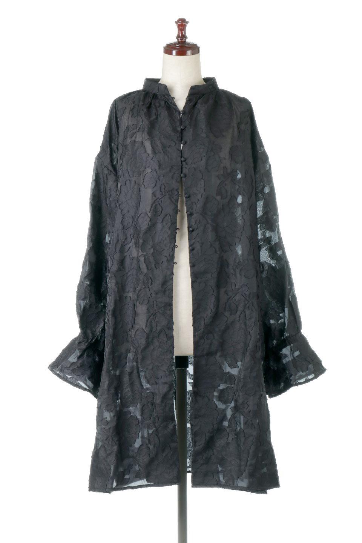 SheerJacquardSlitDressシアージャカード・スリットワンピース大人カジュアルに最適な海外ファッションのothers(その他インポートアイテム)のワンピースやミディワンピース。ジャカードの特徴を活かしたシアー素材のワンピース。フロントオープン仕様と深めのスリットなどでエキゾチックな印象もあるイテムです。