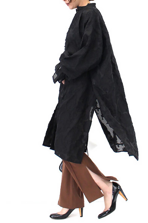 SheerJacquardSlitDressシアージャカード・スリットワンピース大人カジュアルに最適な海外ファッションのothers(その他インポートアイテム)のワンピースやミディワンピース。ジャカードの特徴を活かしたシアー素材のワンピース。フロントオープン仕様と深めのスリットなどでエキゾチックな印象もあるイテムです。/main-15