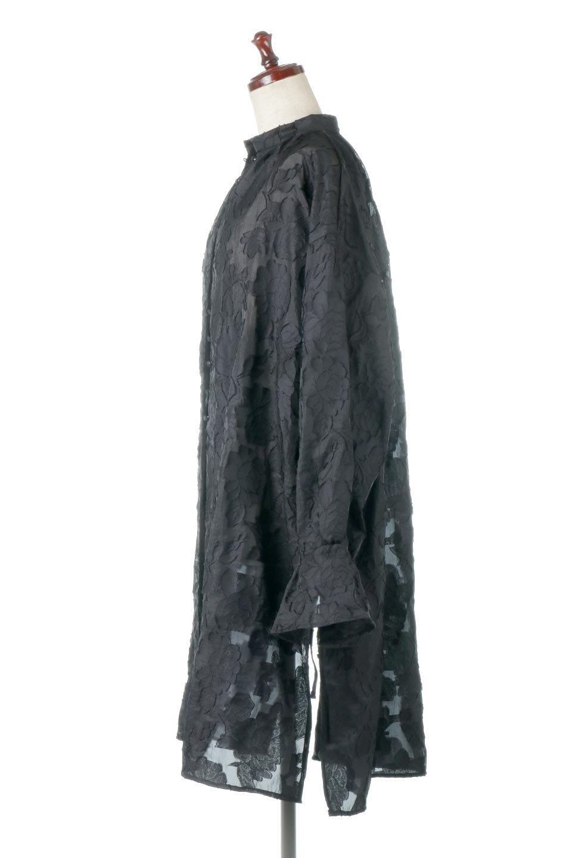 SheerJacquardSlitDressシアージャカード・スリットワンピース大人カジュアルに最適な海外ファッションのothers(その他インポートアイテム)のワンピースやミディワンピース。ジャカードの特徴を活かしたシアー素材のワンピース。フロントオープン仕様と深めのスリットなどでエキゾチックな印象もあるイテムです。/main-2