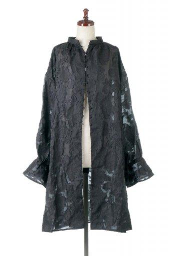 海外ファッションや大人カジュアルに最適なインポートセレクトアイテムのSheer Jacquard Slit Dress シアージャカード・スリットワンピース
