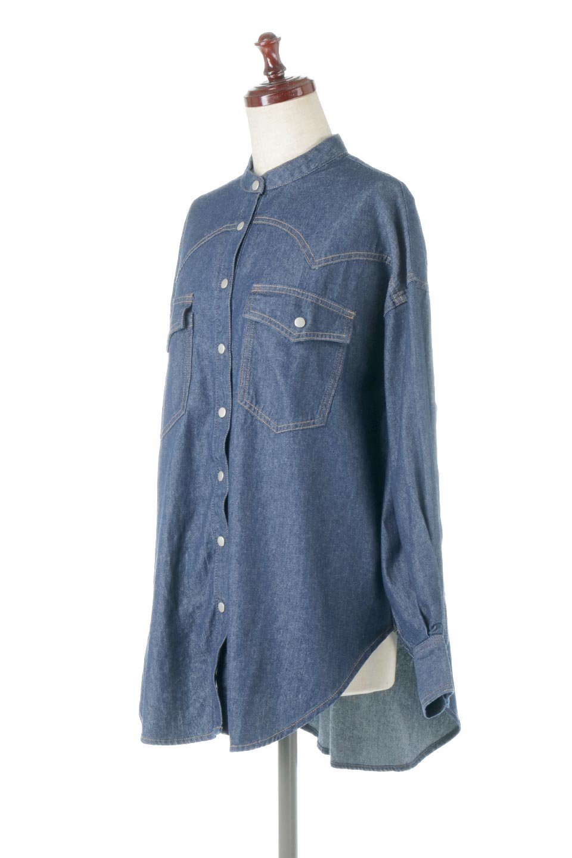 6.5ozDenimWesternBigShirtsライトデニム・ウエスタンシャツ大人カジュアルに最適な海外ファッションのothers(その他インポートアイテム)のトップスやシャツ・ブラウス。6.5オンス・ライトデニムを使用したウエスタン調のビッグシャツ。アーチ状のヨークやポケットはウエスタンシャツを感じさせるディテールですが、ルーズなシルエットは現代風な雰囲気です。/main-1
