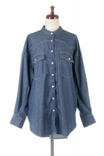 海外ファッションや大人カジュアルに最適なインポートセレクトアイテムの6.5oz Denim Western Big Shirts ライトデニム・ウエスタンシャツ