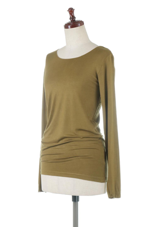 LongSleeveSmoothTeeシルクタッチ・ロンTee大人カジュアルに最適な海外ファッションのothers(その他インポートアイテム)のトップスやカットソー。シルクのような肌触りが人気のロンTeeストレッチが効いた素材でトップスやアウターに響かないタイトなシルエット。首回りや袖元はメローロック仕立て。/main-1