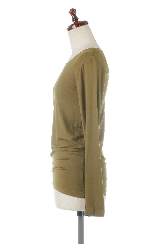 LongSleeveSmoothTeeシルクタッチ・ロンTee大人カジュアルに最適な海外ファッションのothers(その他インポートアイテム)のトップスやカットソー。シルクのような肌触りが人気のロンTeeストレッチが効いた素材でトップスやアウターに響かないタイトなシルエット。首回りや袖元はメローロック仕立て。/main-2