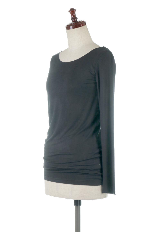 LongSleeveSmoothTeeシルクタッチ・ロンTee大人カジュアルに最適な海外ファッションのothers(その他インポートアイテム)のトップスやカットソー。シルクのような肌触りが人気のロンTeeストレッチが効いた素材でトップスやアウターに響かないタイトなシルエット。首回りや袖元はメローロック仕立て。/main-31