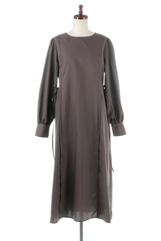 SideRibbonPuffSleeveDressサイドリボン・パフスリーブワンピース大人カジュアルに最適な海外ファッションのothers(その他インポートアイテム)のワンピースやマキシワンピース。サイドのリボンがアクセントのロングワンピース。パフスリーブのシンプルなデザインで女性らしを感じるアイテム。
