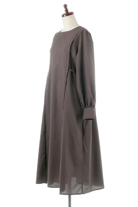 SideRibbonPuffSleeveDressサイドリボン・パフスリーブワンピース大人カジュアルに最適な海外ファッションのothers(その他インポートアイテム)のワンピースやマキシワンピース。サイドのリボンがアクセントのロングワンピース。パフスリーブのシンプルなデザインで女性らしを感じるアイテム。/main-1