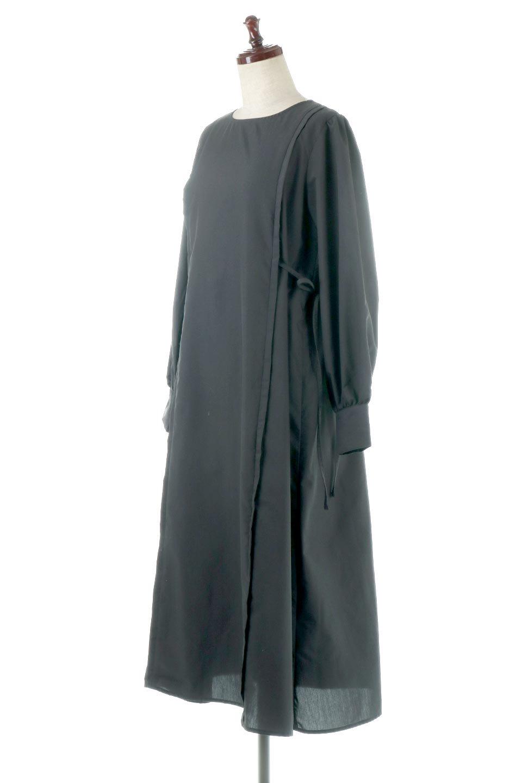 SideRibbonPuffSleeveDressサイドリボン・パフスリーブワンピース大人カジュアルに最適な海外ファッションのothers(その他インポートアイテム)のワンピースやマキシワンピース。サイドのリボンがアクセントのロングワンピース。パフスリーブのシンプルなデザインで女性らしを感じるアイテム。/main-11