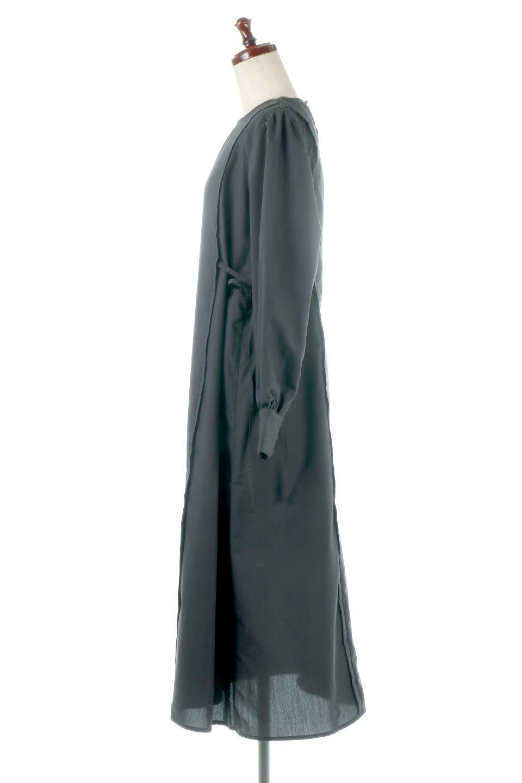 SideRibbonPuffSleeveDressサイドリボン・パフスリーブワンピース大人カジュアルに最適な海外ファッションのothers(その他インポートアイテム)のワンピースやマキシワンピース。サイドのリボンがアクセントのロングワンピース。パフスリーブのシンプルなデザインで女性らしを感じるアイテム。/main-12