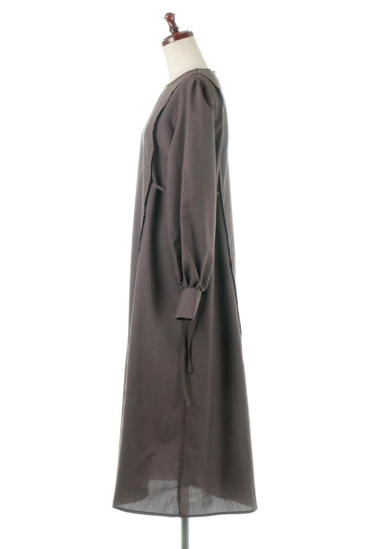 SideRibbonPuffSleeveDressサイドリボン・パフスリーブワンピース大人カジュアルに最適な海外ファッションのothers(その他インポートアイテム)のワンピースやマキシワンピース。サイドのリボンがアクセントのロングワンピース。パフスリーブのシンプルなデザインで女性らしを感じるアイテム。/main-2